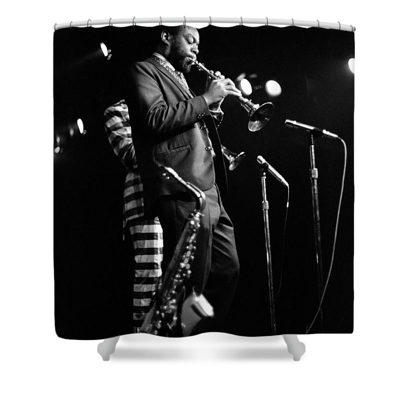 Ornette Coleman Shower Curtain featuring the photograph Dewey Redman On Musette by Lee Santa