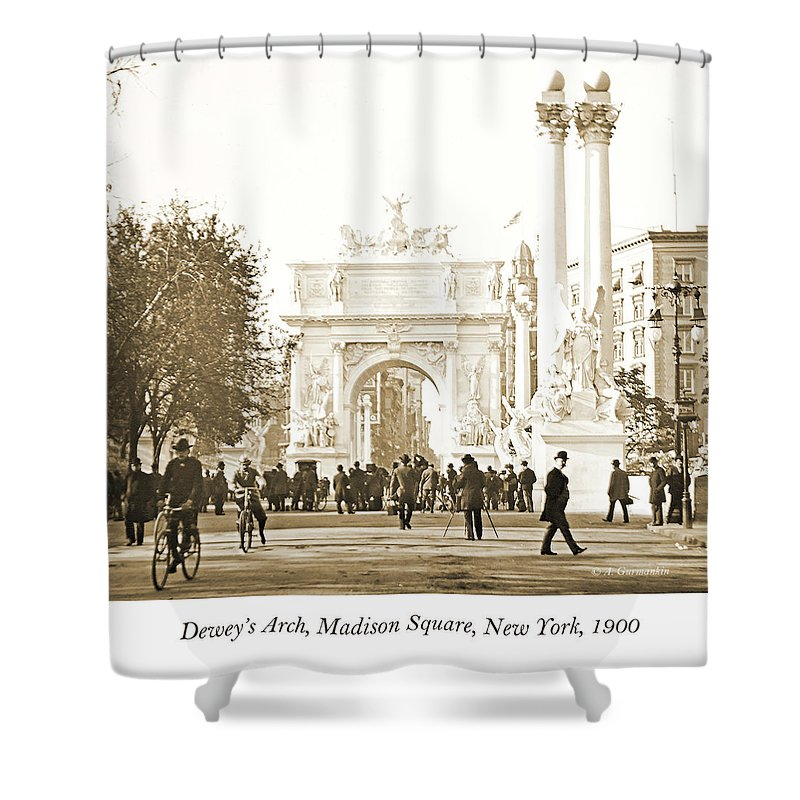 Documentary Shower Curtain featuring the photograph Dewey's Arch Monument, Madison Square, New York, 1900 by A Gurmankin