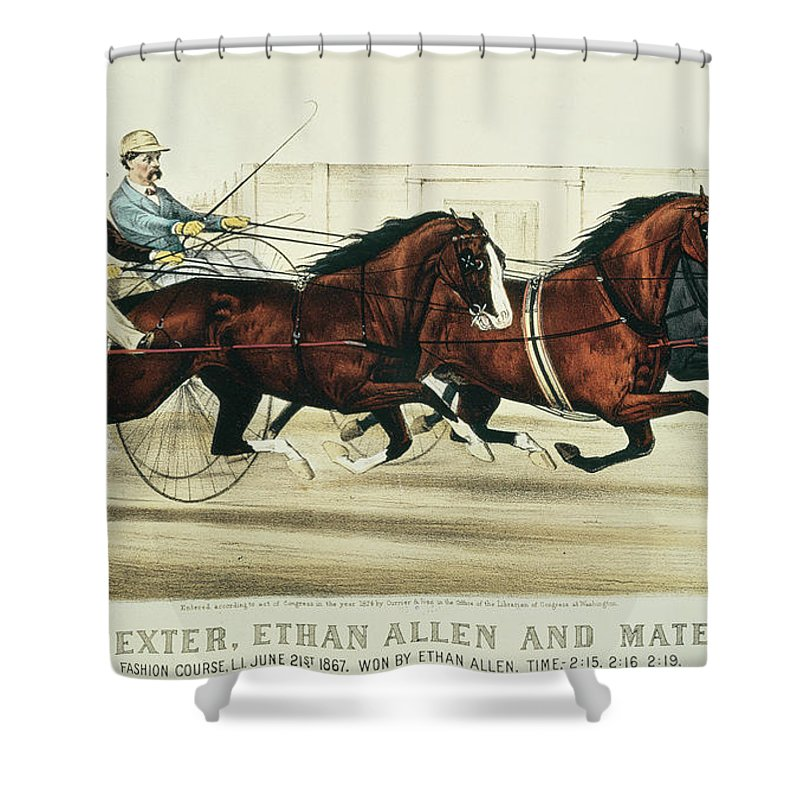 Harness Racing Shower Curtain Featuring The Painting Dexter Ethan Allen And Mate By Currier