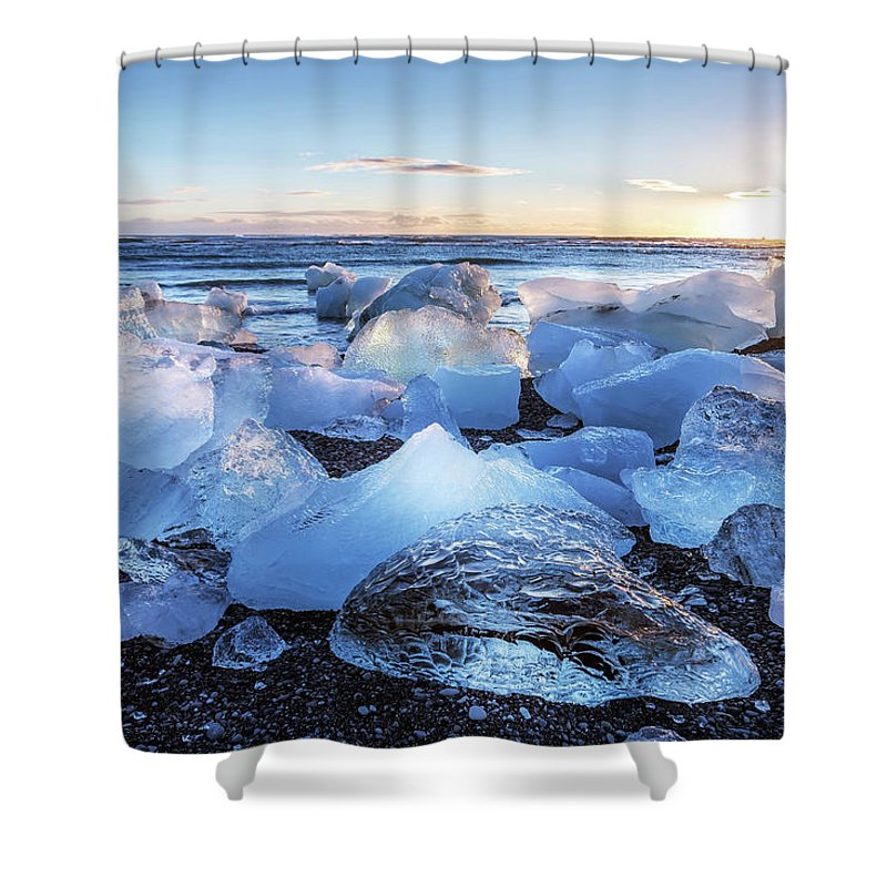 Pressure Shower Curtain featuring the photograph Diamond Beach by Louloua Asgaraly