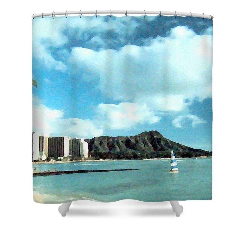 1986 Shower Curtain featuring the digital art Diamond Head by Will Borden