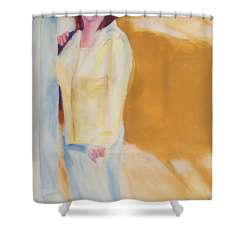 Portraits Shower Curtain featuring the painting Diane by Eric Schiabor