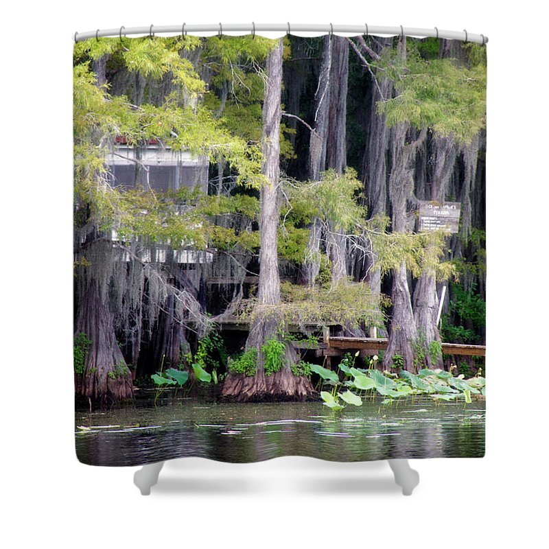Bald Cypress Shower Curtain featuring the photograph Dick And Charlies Tea Room by Lana Trussell