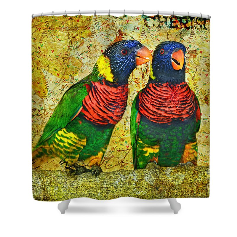 Lorikeet Greeting Shower Curtain featuring the photograph Did I Tell You How Much I Love You by Olga Hamilton