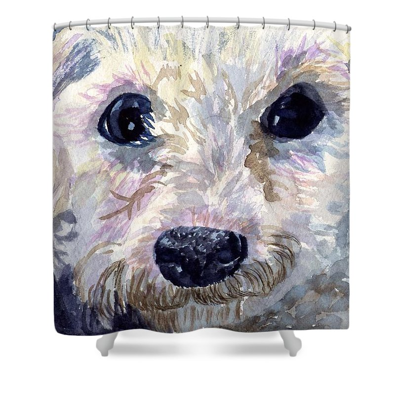 Bichon Frise Shower Curtain featuring the painting Did You Say Lunch by Sharon E Allen