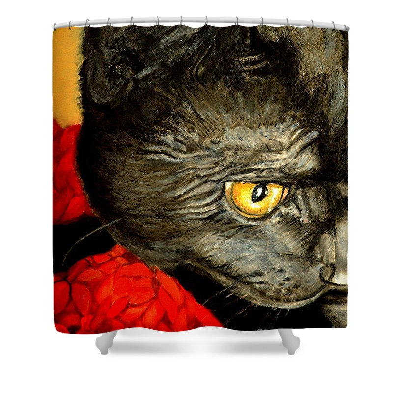 Animal Painting Shower Curtain featuring the painting Diego The Cat by Portraits By NC