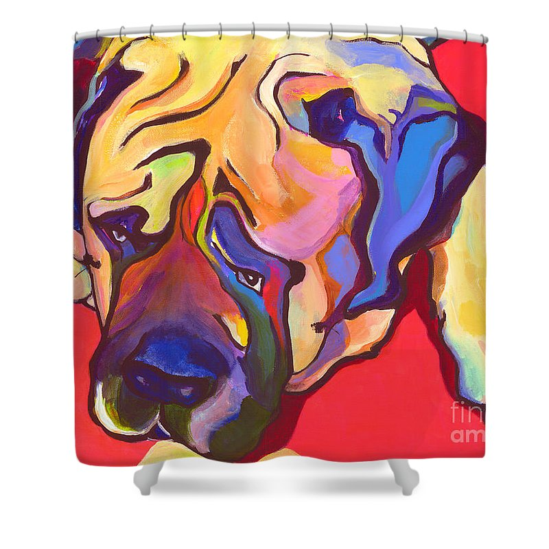 Mastiff Shower Curtain featuring the painting Diesel  by Pat Saunders-White