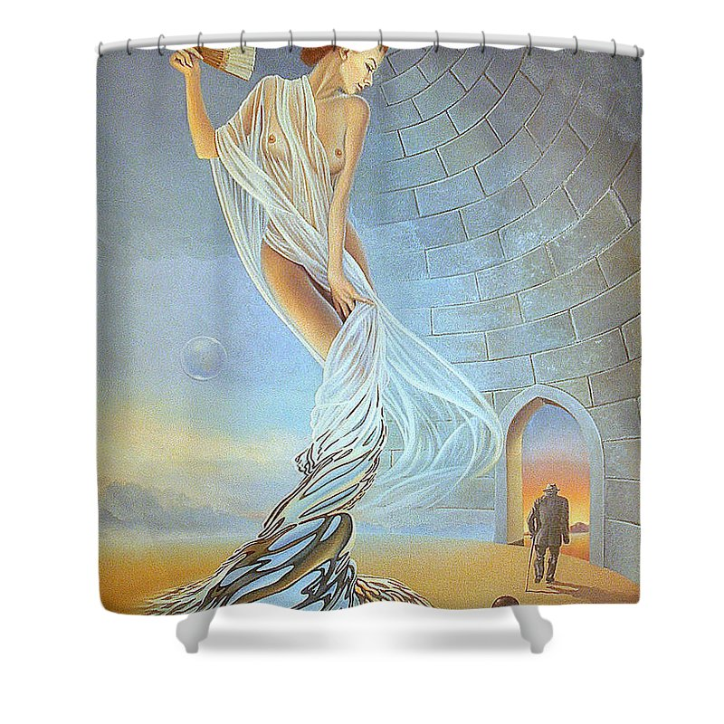 Art Oil Painting Different Balls Age Time Woman Shower Curtain featuring the painting Different Balls by Gyuri Lohmuller