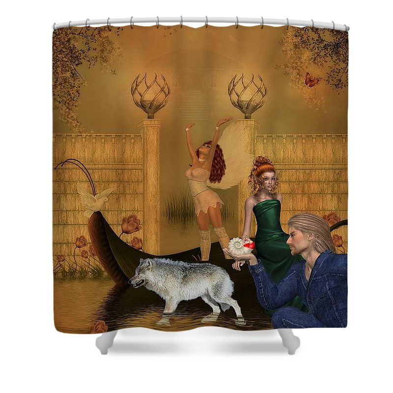 Wolf Shower Curtain featuring the digital art Different Dreams by RiaL Treasures