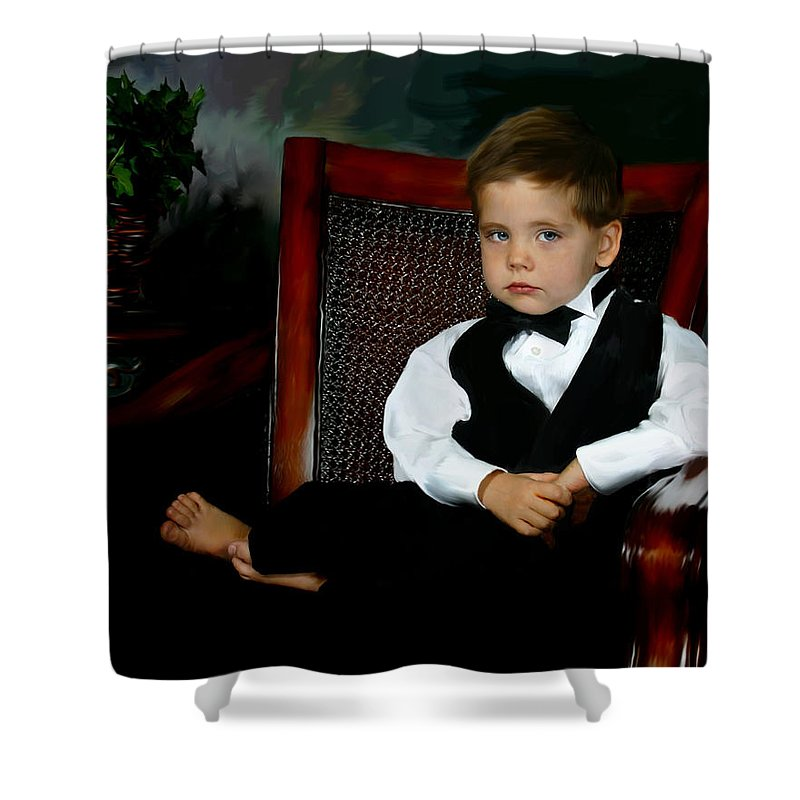 Painting Shower Curtain featuring the digital art Digital Art Painting Of My Son by Anthony Jones