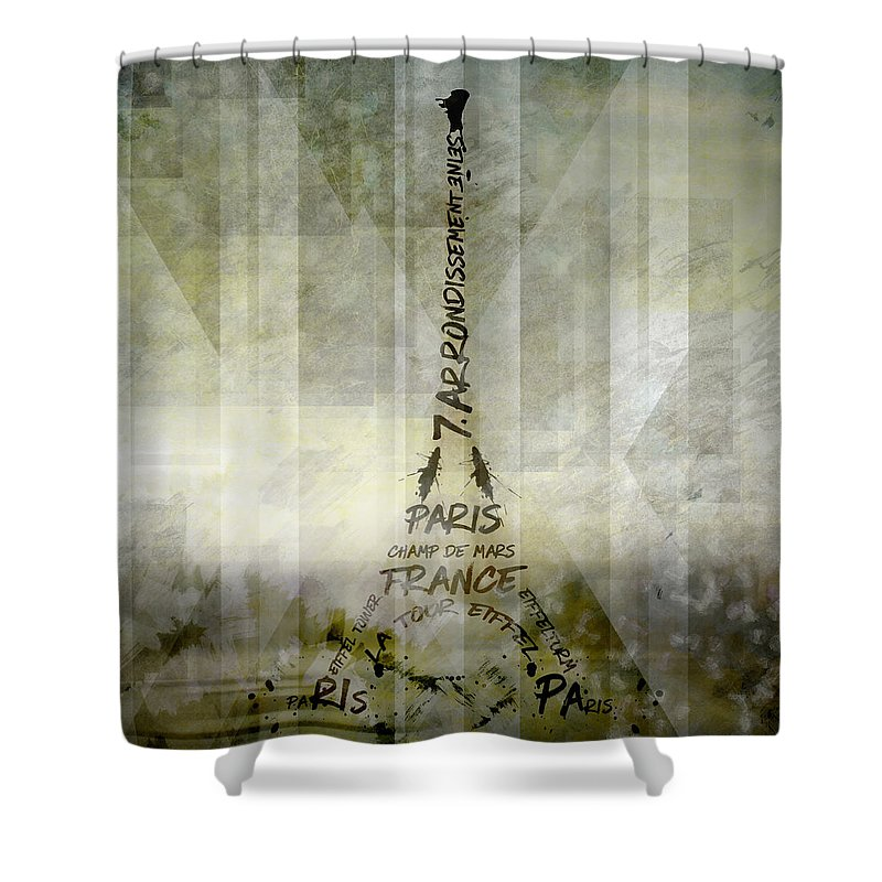Abstract Shower Curtain featuring the photograph Digital-art Paris Eiffel Tower Geometric Mix No.1 by Melanie Viola