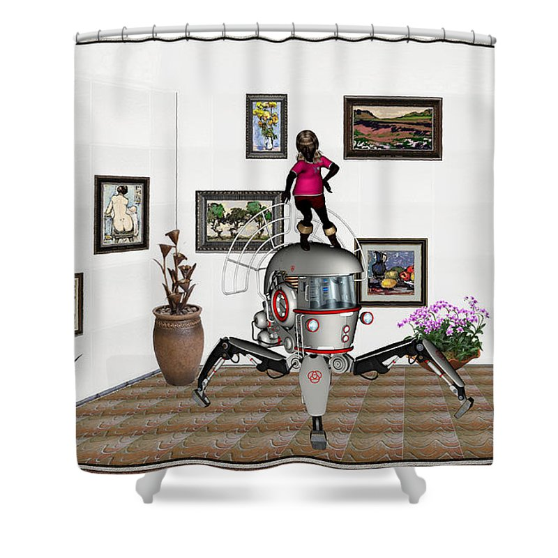 Modern Painting Shower Curtain featuring the mixed media Digital Exhibition 421 by Pemaro