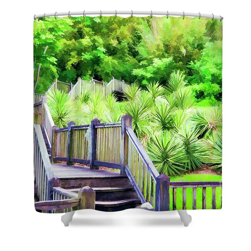 Landscape Shower Curtain featuring the photograph Digital Paint Landscape Jefferson Island by Chuck Kuhn