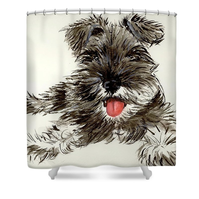 Schnauzer Shower Curtain featuring the painting Ding by Carol Blackhurst
