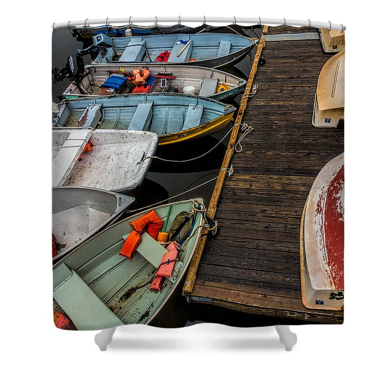 Dinghies Shower Curtain featuring the photograph Dinghies At Town Wharf by David Stone
