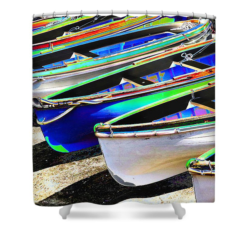 Dinghies Shower Curtain featuring the photograph Dinghies On Beach by David Wimsatt