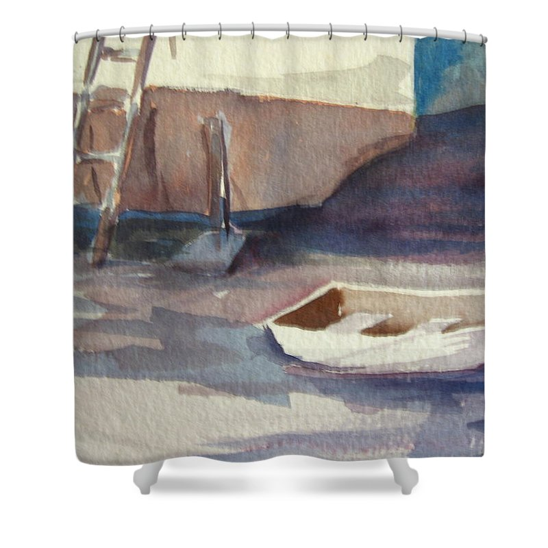 Boats Shower Curtain featuring the painting Dinghy by Carol Mueller