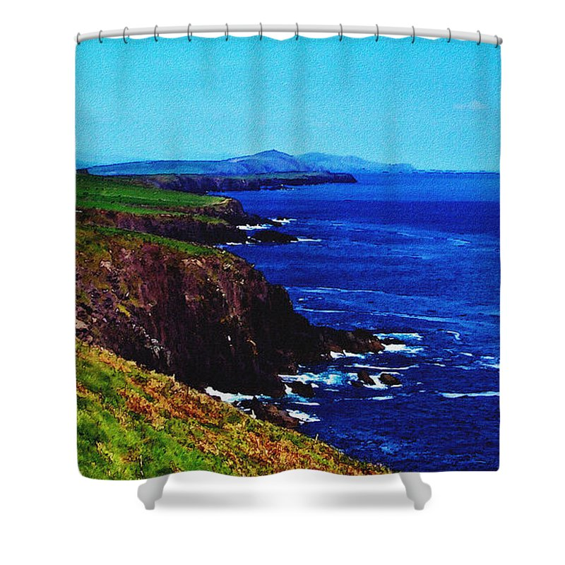 Irish Shower Curtain featuring the digital art Dingle Coastline Near Fahan Ireland by Teresa Mucha