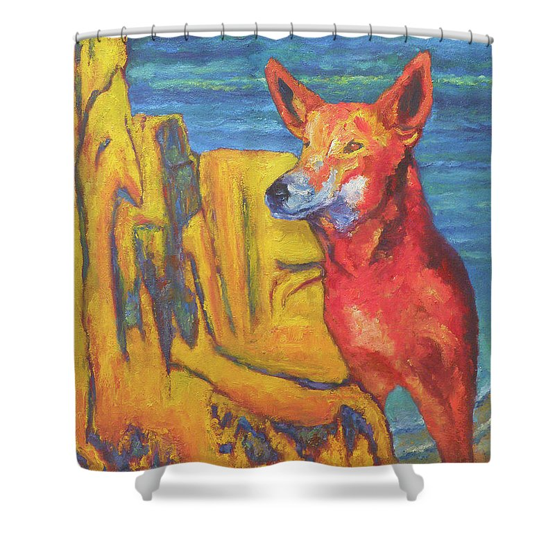 Dingo Shower Curtain featuring the painting Dingo by Michael Jadach