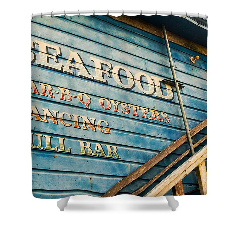 Sign Shower Curtain featuring the photograph Dining And Dancing by Mick Burkey