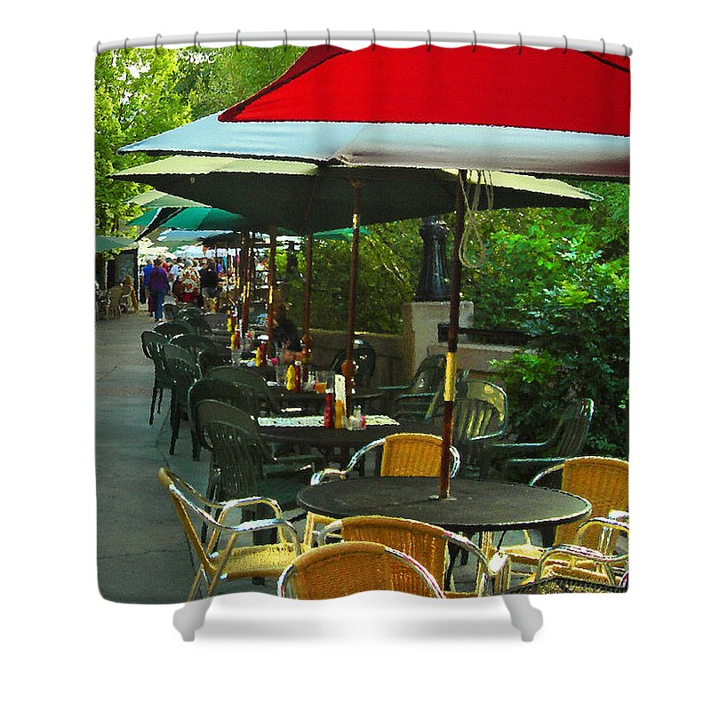 Cafe Shower Curtain featuring the photograph Dining Under The Umbrellas by James Eddy