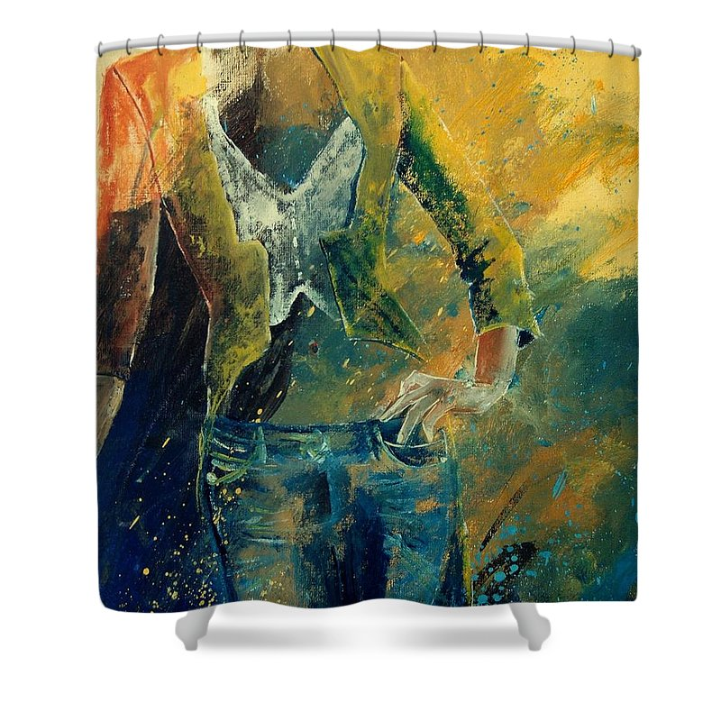 Woman Girl Fashion Shower Curtain featuring the painting Dinner Jacket by Pol Ledent