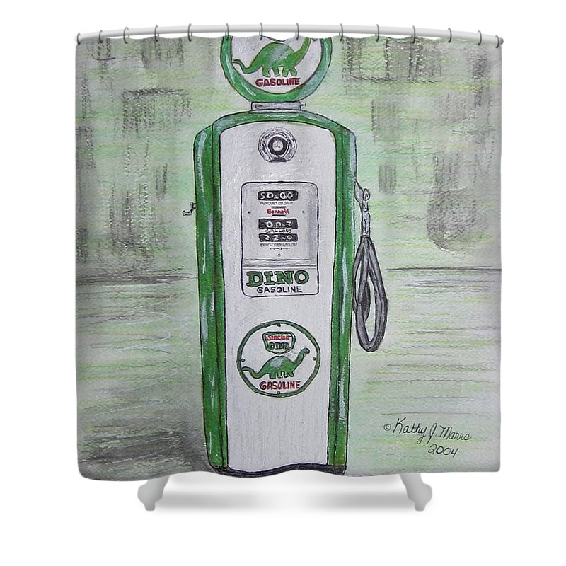 Dino Shower Curtain featuring the painting Dino Sinclair Gas Pump by Kathy Marrs Chandler
