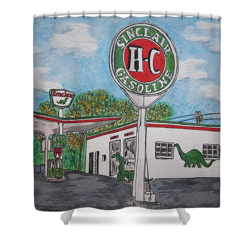 Dino Shower Curtain featuring the painting Dino Sinclair Gas Station by Kathy Marrs Chandler