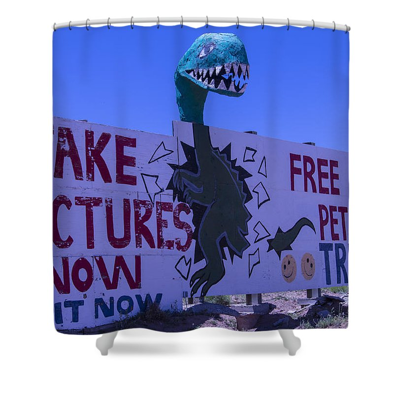 Roadside Dinosaur Shower Curtain featuring the photograph Dinosaur Sign Take Pictures Now by Garry Gay