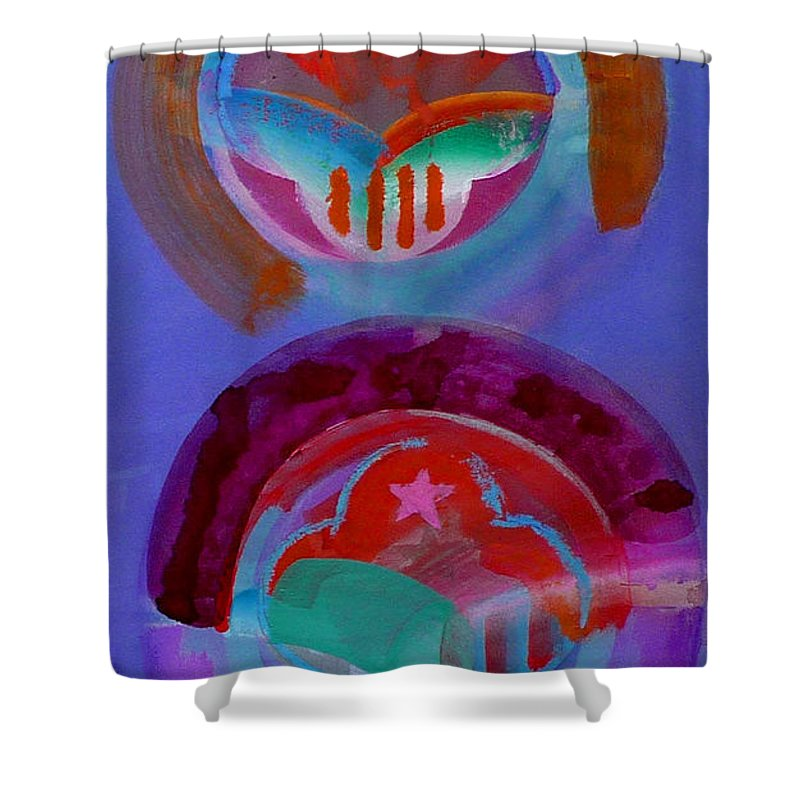 Logo Shower Curtain featuring the painting Diptych by Charles Stuart