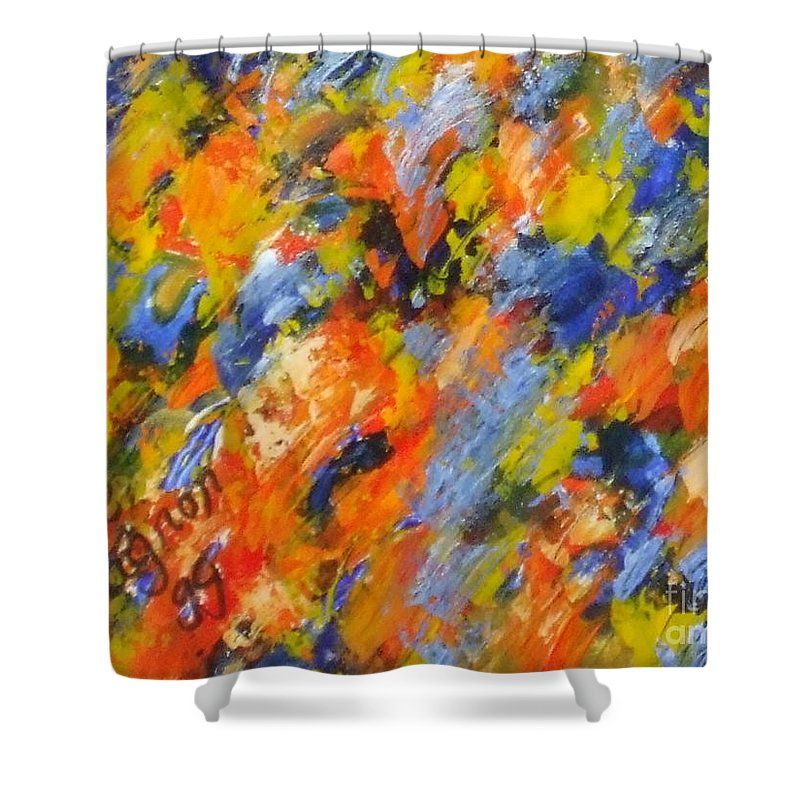 Diptych Shower Curtain featuring the painting Diptych Part 2 by Claire Gagnon