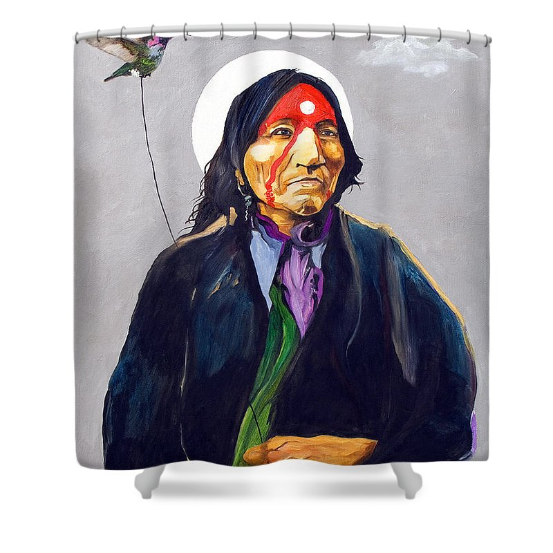 Shaman Shower Curtain featuring the painting Direct Connect by J W Baker