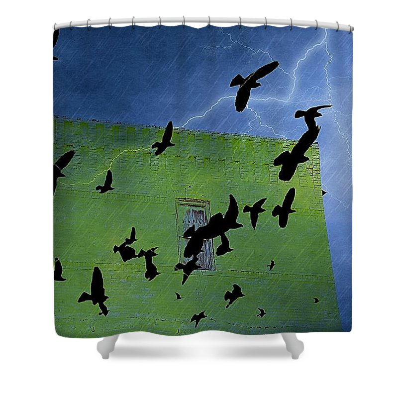 Architectural Shower Curtain featuring the photograph Direct Hit by Jan Amiss Photography