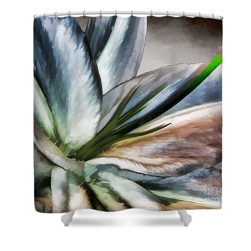 Lily Shower Curtain featuring the photograph Dirty White Lily 1 by Margaux Dreamaginations