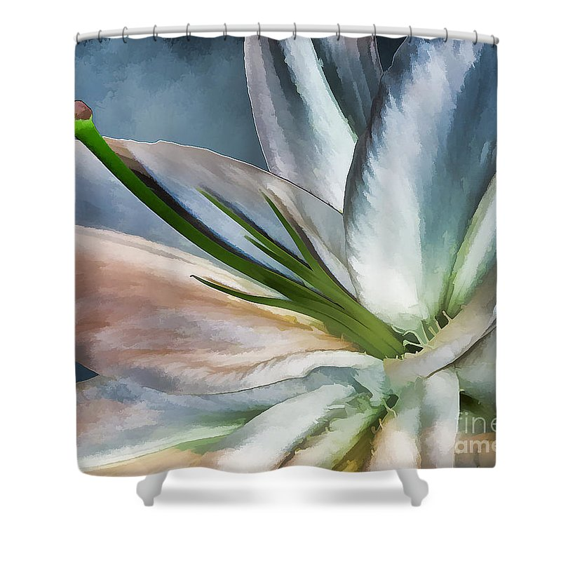 Lily Shower Curtain featuring the photograph Dirty White Lily 2 by Margaux Dreamaginations
