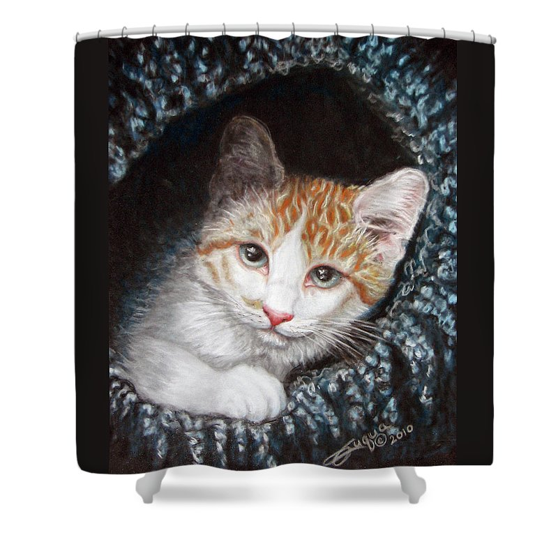 Pastels Shower Curtain featuring the pastel Discovery by Beverly Fuqua