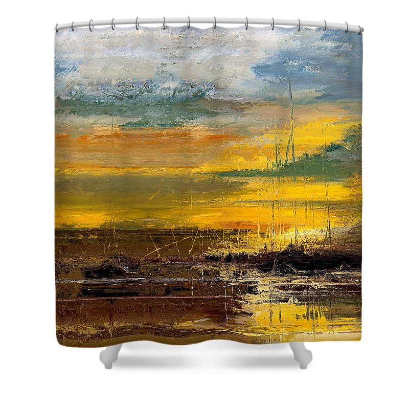 Abstract Shower Curtain featuring the digital art Discovery IIi by Ronald Bolokofsky