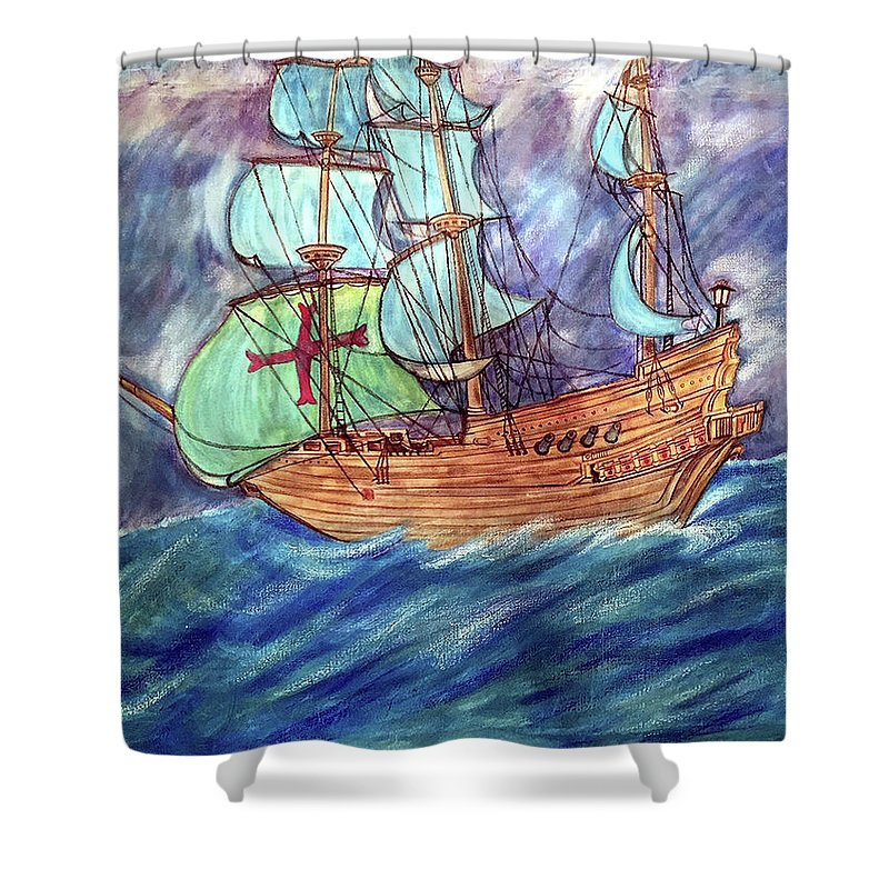 Seascape Shower Curtain featuring the painting Discovery by Marco Morales