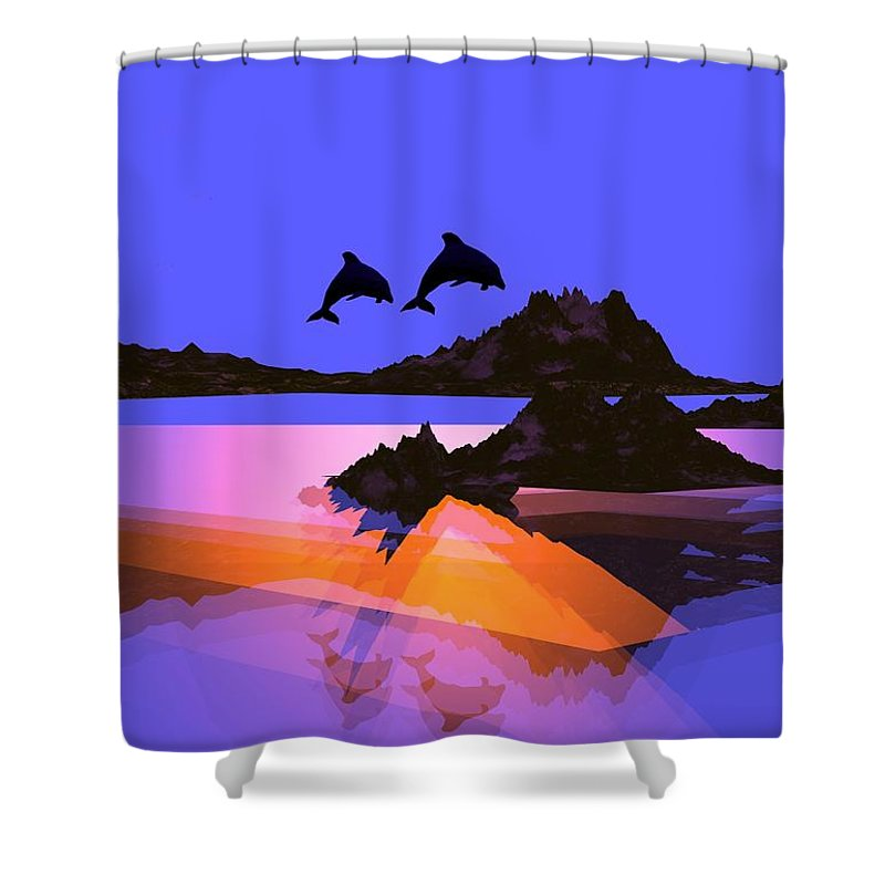 Dolphin Shower Curtain featuring the digital art Discovery by Robert Orinski