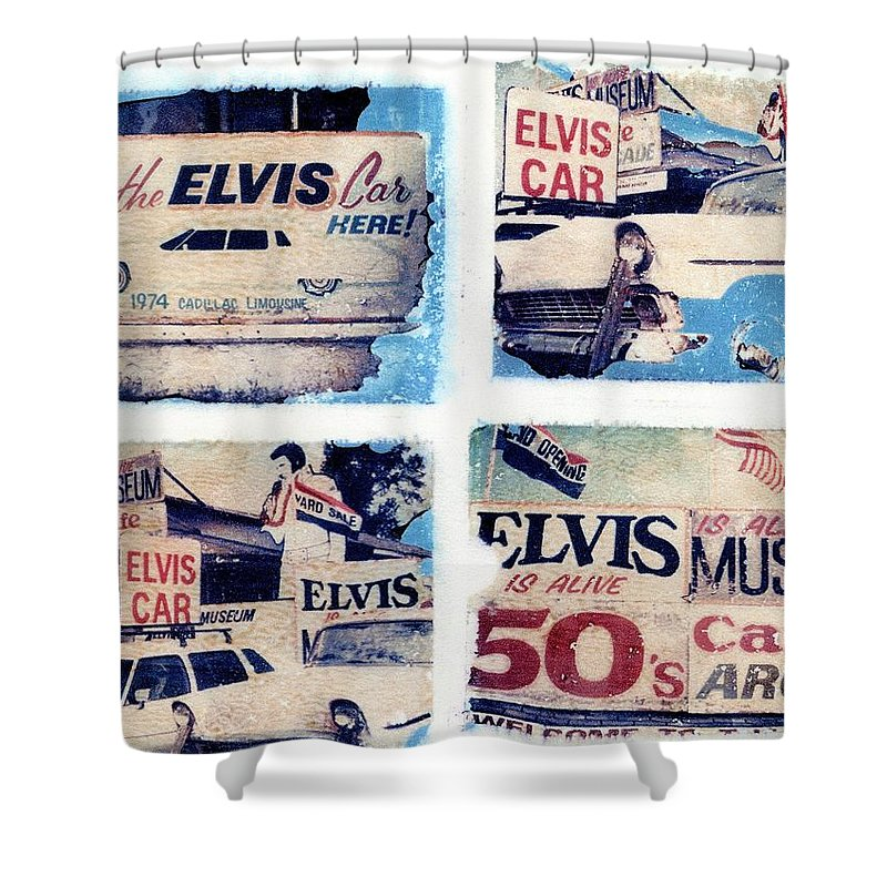 Elvis Shower Curtain featuring the photograph Disgraceland by Jane Linders