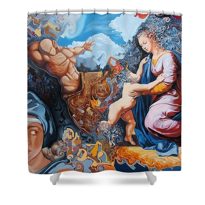 Surrealism Shower Curtain featuring the painting Disintegration Of The Old Ancient World by Darwin Leon