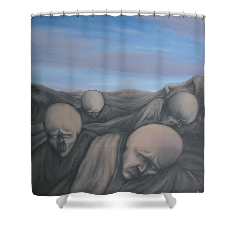 Tmad Shower Curtain featuring the painting Dismay by Michael TMAD Finney