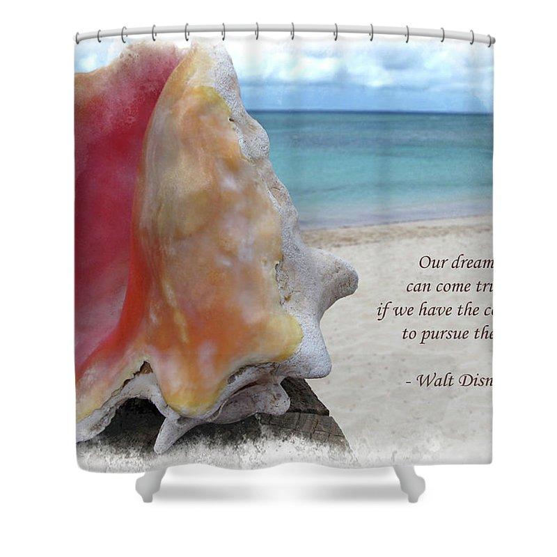 Disney Shower Curtain featuring the digital art Disney Inspiration Quote by Joan Minchak