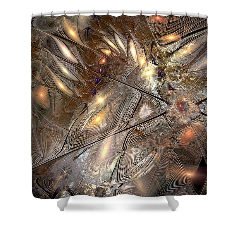 Abstract Shower Curtain featuring the digital art Disorderly Relativistic Interpretations by Casey Kotas