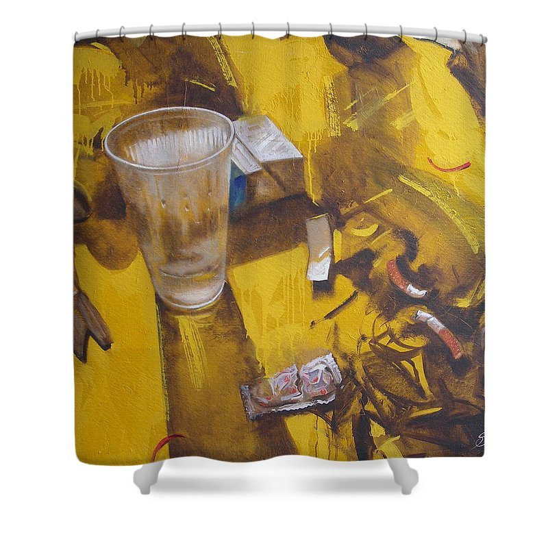 Disposable Shower Curtain featuring the painting Disposable by Sergey Ignatenko