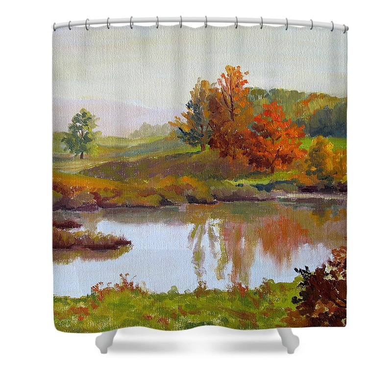 Landscape Shower Curtain featuring the painting Distant Maples by Keith Burgess