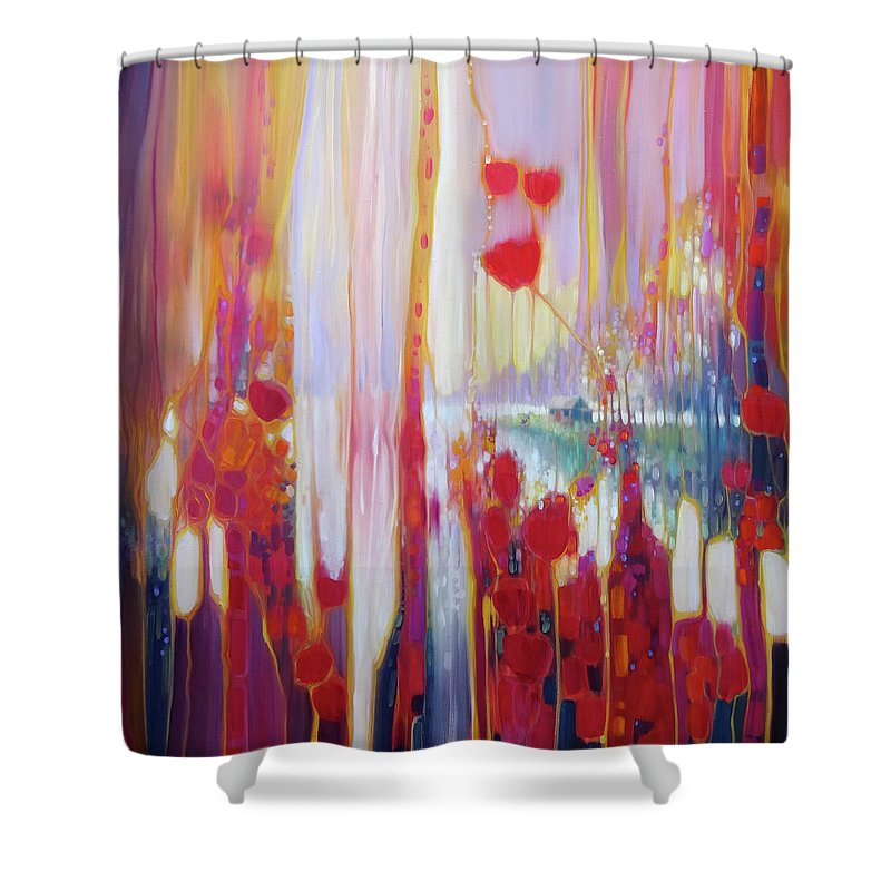 Modern Art Nouveau Shower Curtain featuring the painting Distant Memory - A Semi Abstract Landscape by Gill Bustamante