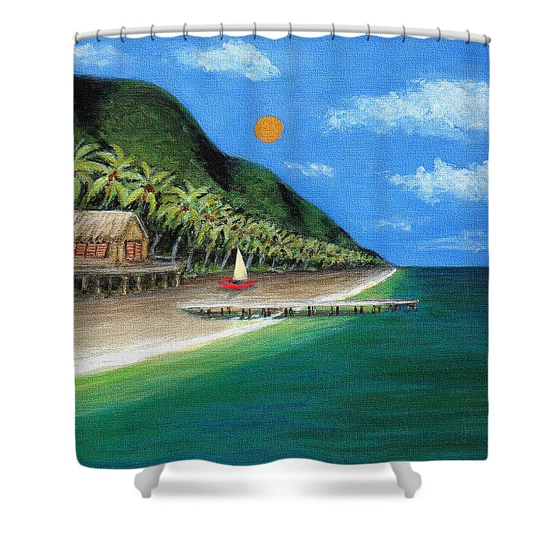 Contemporary Tropical Seascape Coastal Palm Trees Sailboat Sailing Ocean Beach Tahiti G Shower Curtain featuring the painting Distant Shores by Gordon Beck