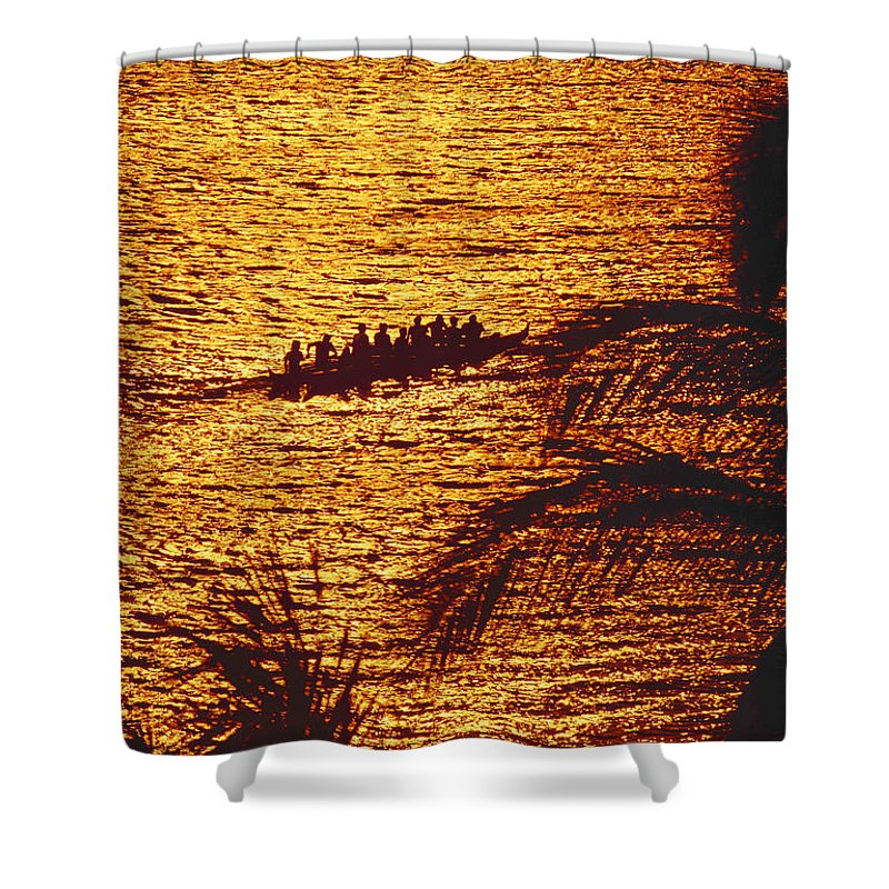 Canoe Shower Curtain featuring the photograph Distant View Of Outrigger by Ron Dahlquist - Printscapes