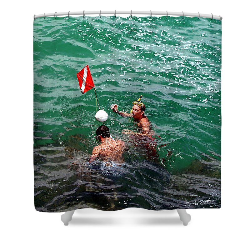 Boys Shower Curtain featuring the photograph Divers At Sebastian Inlet On The Atlantic Coast Of Florida by Allan Hughes